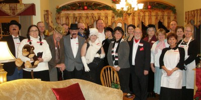A crowd playing The Night Before Christmas murder mystery game