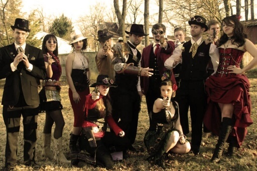 Way out West, steampunk style – sepia group shot - J Yu