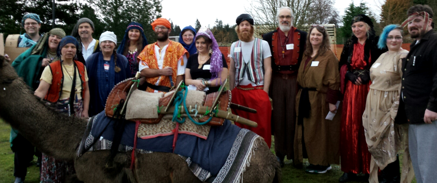 Arabian Nights – group photo, including a live camel 