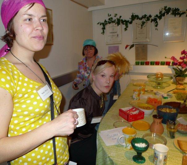 The Karma Club – Sandy, Suzy, Dora and Bobby in the kitchen of the Karma Club commune  – Marja Repokangas