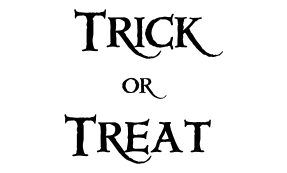 Trick or Treat logo for kids' monster party game