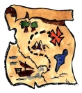 Map image for kids' pirate party game