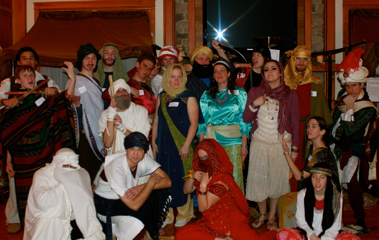 Arabian Nights – the entire cast, with each person striking a pose like their character 